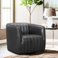 Aries Pewter Genuine Leather Swivel Barrel Chair