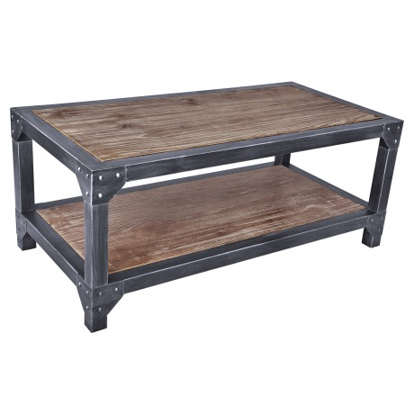 Astrid Industrial Coffee Table in Industrial Grey and Pine Wood