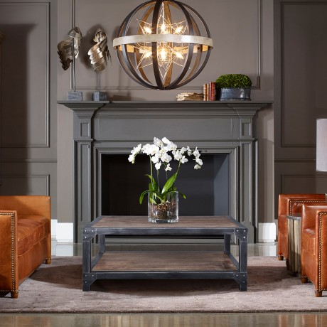 Astrid Industrial Coffee Table in Industrial Grey and Pine Wood Top