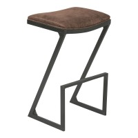"Armen Living Atlantis 26"" Counter Height Backless Barstool in Mineral finish with Bandero Tobacco Fabric"
