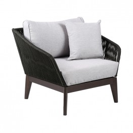 Athos Indoor Outdoor Club Chair in Dark Eucalyptus Wood with Latte Rope and Grey Cushions