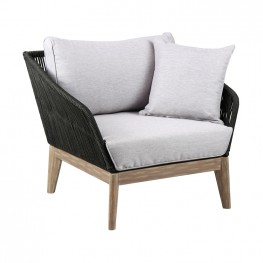 Athos Indoor Outdoor Club Chair in Light Eucalyptus Wood with Latte Rope and Grey Cushions