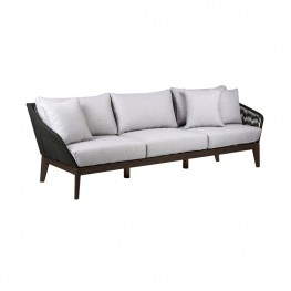 Athos Indoor Outdoor 3 Seater Sofa in Dark Eucalyptus Wood with Latte Rope and Grey Cushions