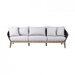 Athos Indoor Outdoor 3 Seater Sofa in Light Eucalyptus Wood with Latte Rope and Grey Cushions