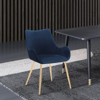 Avery Blue Fabric Dining Room Chair with Gold Legs