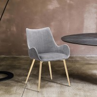 Avery Two Tone Grey Fabric Dining Room Chair with Gold Legs