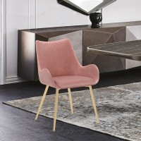 Avery Pink Fabric Dining Room Chair with Gold Legs