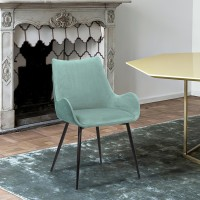 Avery Teal Fabric Dining Room Chair with Gold Legs