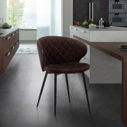 Ava Contemporary Dining Chair in Black Powder Coated Finish with Brown Velvet and Brown Faux Leather Back
