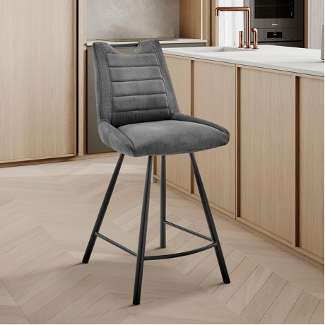 """Arizona 26"""" Counter Height Bar Stool in Charcoal Fabric and Black Finish"""