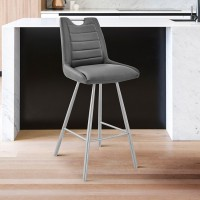 """Arizona 30"""" Bar Height Bar Stool in Charcoal Faux Leather and Brushed Stainless Steel Finish"""