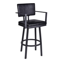 "Armen Living Balboa 26"" Counter Height Barstool with Arms in a Black Powder Coated Finish and Vintage Black Faux Leather"