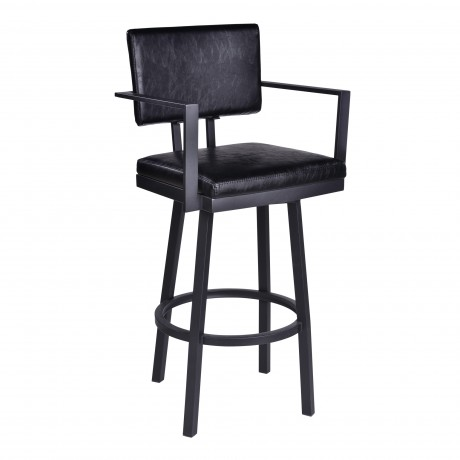 "Balboa 30"" Bar Height Barstool with Arms in a Black Powder Coated Finish and Vintage Black Faux Leather"
