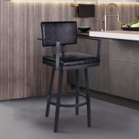 "Armen Living Balboa 30"" Bar Height Barstool with Arms in a Black Powder Coated Finish and Vintage Black Faux Leather"