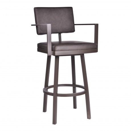 """Balboa 26"""" Counter Height Barstool with Arms in aBrown Powder Coated Finish and Vintage Brown Faux Leather"""