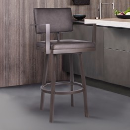 "Balboa 26"" Counter Height Barstool with Arms in a Brown Powder Coated Finish and Vintage Brown Faux Leather"