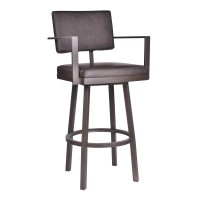 "Armen Living Balboa 30"" Bar Height Barstool with Arms in a Brown Powder Coated Finish and Vintage Brown Faux Leather"