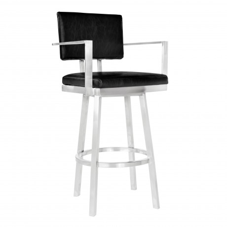 """Balboa 26"""" Counter Height Barstool with Arms in Brushed Stainless Steel and Vintage Black Faux Leather"""