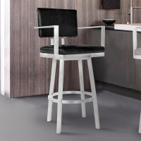 "Armen Living Balboa 30"" Bar Height Barstool with Arms in Brushed Stainless Steel and Vintage Black Faux Leather"