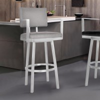 "Armen Living Balboa 26"" Counter Height Barstool with Arms in Brushed Stainless Steel and Vintage Gray Faux Leather"