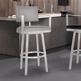 "Balboa 26"" Counter Height Barstool with Arms in Brushed Stainless Steel and Vintage Gray Faux Leather"