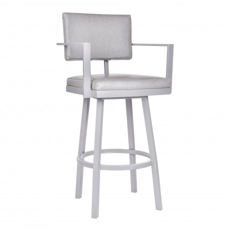 """Balboa 30"""" Bar Height Barstool with Arms in a Gray Powder Coated Finish and Vintage Gray Faux Leather"""