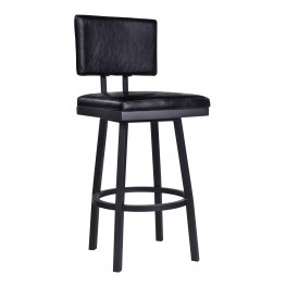 "Balboa 26"" Counter Height Barstool in a Black Powder Coated Finish and Vintage Black Faux Leather"
