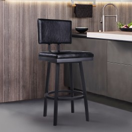 "Balboa 30"" Bar Height Barstool in a Black Powder Coated Finish and Vintage Black Faux Leather"