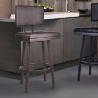 "Balboa 26"" Counter Height Barstool in Brown Powder Coated Finish and Vintage Brown Faux Leather"