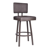 "Balboa 30"" Bar Height Barstool in Brown Powder Coated Finish and Vintage Brown Faux Leather"