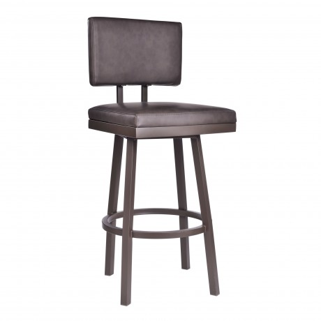 """Balboa 30"""" Bar Height Barstool in Brown Powder Coated Finish and Vintage Brown Faux Leather"""