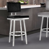 "Armen Living Balboa 26"" Counter Height Barstool in Brushed Stainless Steel and Vintage Black Faux Leather"
