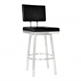 "Balboa 30"" Bar Height Barstool in Brushed Stainless Steel and Vintage Black Faux Leather"