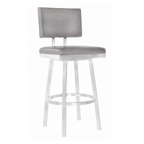 "Armen Living Balboa 26"" Counter Height Barstool in Brushed Stainless Steel and Vintage Grey Faux Leather"