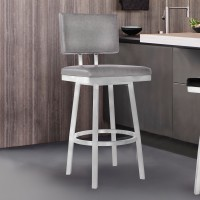 "Armen Living Balboa 30"" Bar Height Barstool in Brushed Stainless Steel and Vintage Grey Faux Leather"