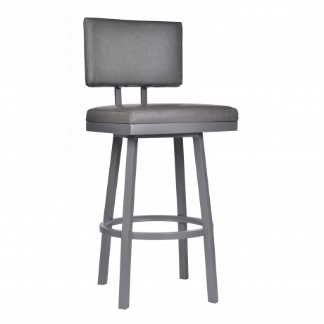 "Armen Living Balboa 26"" Counter Height Barstool in a Gray Powder Coated Finish and Vintage Gray Faux Leather"