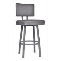 "Armen Living Balboa 30"" Bar Height Barstool in a Gray Powder Coated Finish and Vintage Gray Faux Leather"
