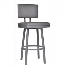 "Balboa 30"" Bar Height Barstool in a Gray Powder Coated Finish and Vintage Gray Faux Leather"