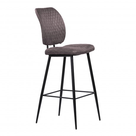 "Buckley Contemporary 30"" Bar Height Barstool in Matte Black Powder Coated Finish and Grey Fabric"