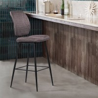 "Armen Living Buckley Contemporary 30"" Bar Height Barstool in Matte Black Powder Coated Finish and Grey Fabric"