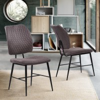 Armen Living Buckley Contemporary Dining Chair  in Matte Black Powder Coated Finish and Grey Fabric - Set of 2