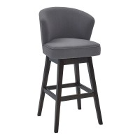 "Brandy 26"" Counter Height Barstool in Espresso Finish and Grey Fabric"