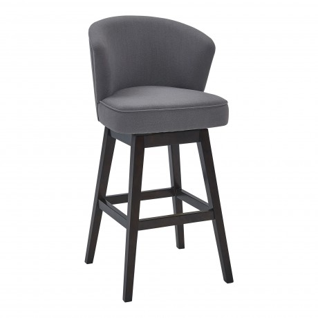 "Brandy 30"" Bar Height Barstool in Espresso Finish and Grey Fabric"