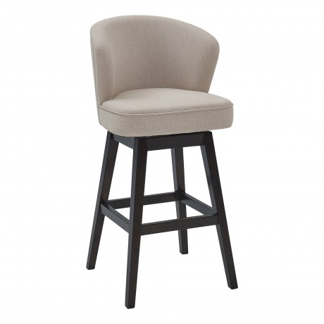 "Brandy 30"" Bar Height Barstool in Espresso Finish and Tan Fabric"