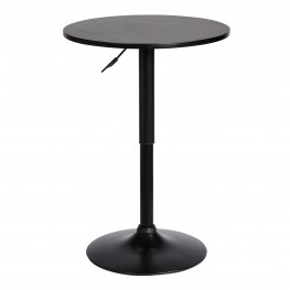 Bentley Adjustable Pub Table in Black Brushed Wood and Black Metal finish
