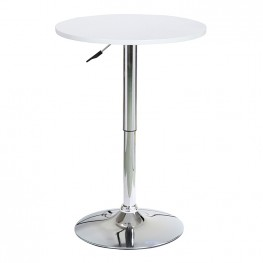 Bentley Adjustable Pub Table in White Brushed Wood and Chrome Metal finish
