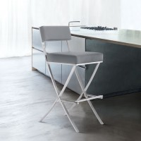 """Bethany Contemporary 26"""" Bar Height Barstool in Brushed Stainless Steel and Grey Faux Leather"""