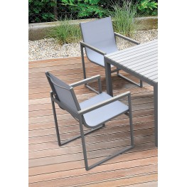 Bistro Outdoor Patio Dining Chair in Grey Powder Coated Finish with Grey Sling Textilene and Grey Wood Accent Arms  - Set of 2