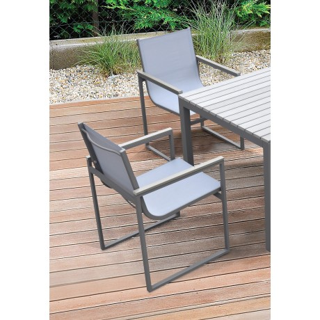 Armen Living Bistro Outdoor Patio Dining Chair in Grey Powder Coated Finish with Grey Sling Textilene and Grey Wood Accent Arms  - Set of 2