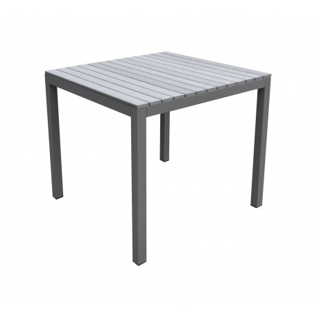 Bistro Outdoor Patio Dining Table in Grey Powder Coated Finish with Grey Wood Top